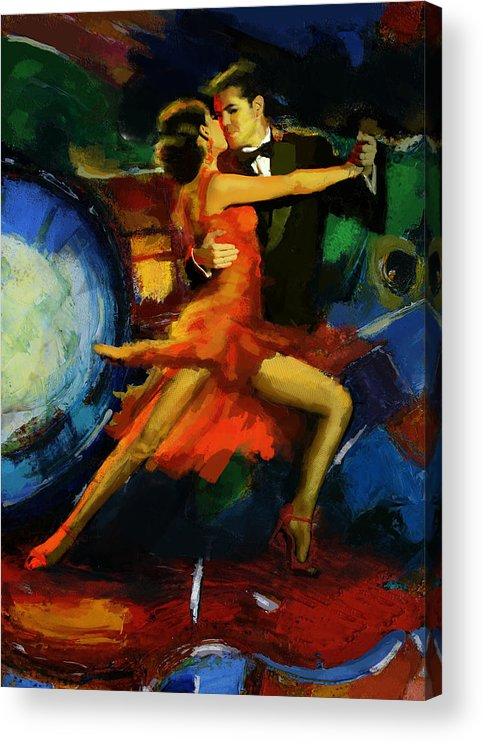 Jazz Acrylic Print featuring the painting Flamenco Dancer 029 by Catf
