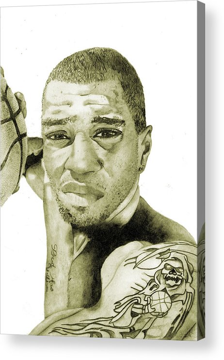 Kenyon Acrylic Print featuring the painting Kenyon Martin by Michael Pattison