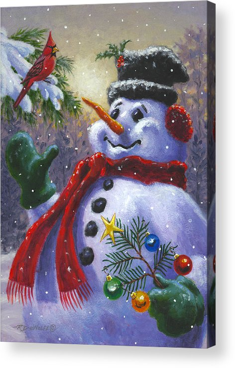 Snowman Paintings Acrylic Prints And Snowman Paintings