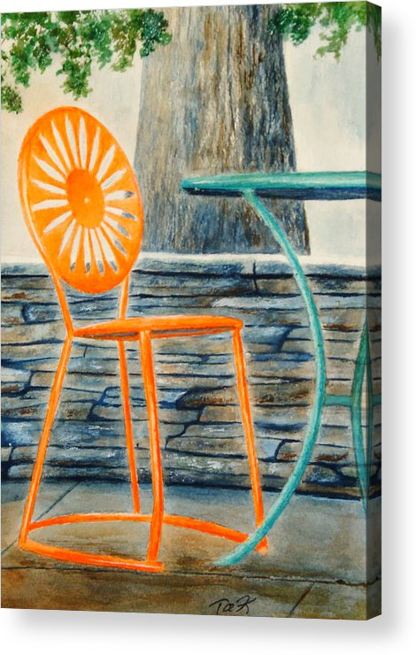 University Of Wisconsin Acrylic Print featuring the painting The Terrace Chair by Thomas Kuchenbecker