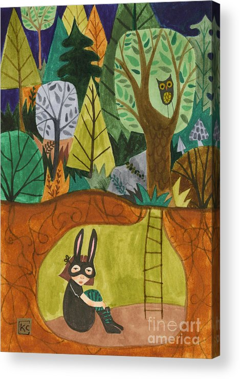 Bunny Mask Acrylic Print featuring the painting Underground by Kate Cosgrove