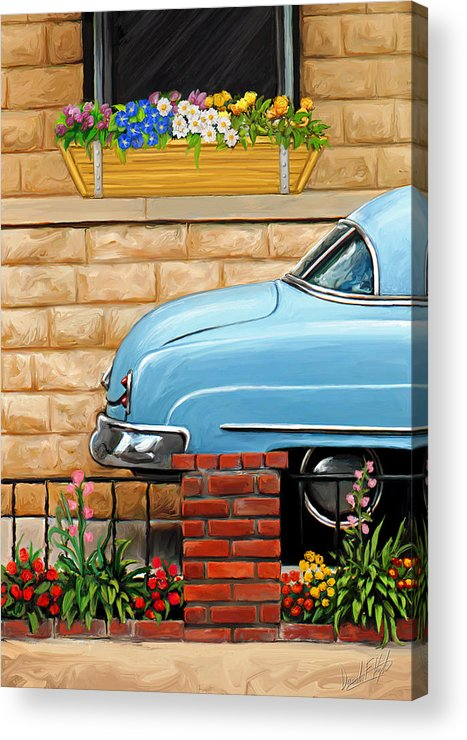 Old Car Acrylic Print featuring the painting Clunker In The Garden by David Kyte
