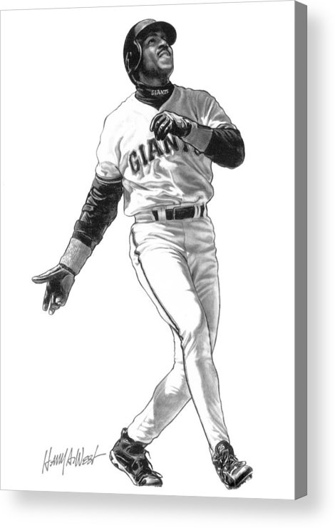 Barry Bonds Acrylic Print featuring the drawing Barry Bonds by Harry West
