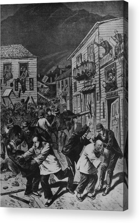 History Acrylic Print featuring the photograph October 31, 1880 Anti-chinese Riot by Everett