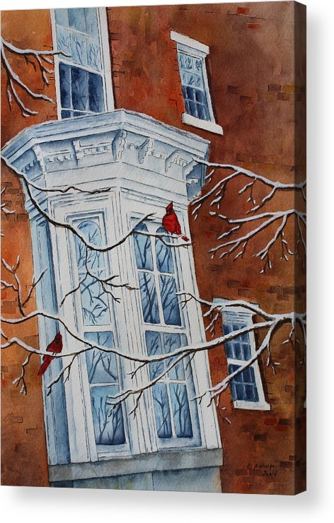 Architectural Landscape Acrylic Print featuring the painting Snowy Bay by Patsy Sharpe