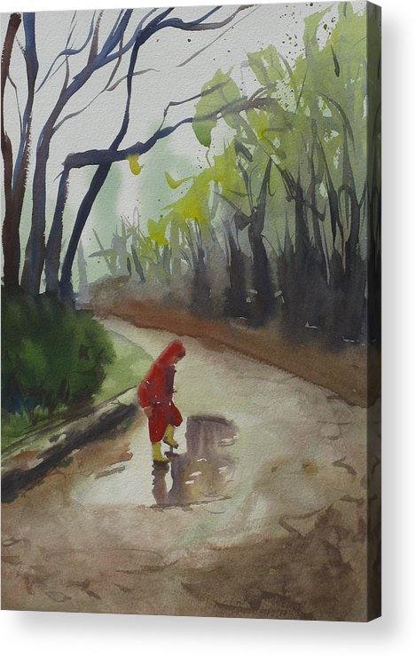 Child Acrylic Print featuring the painting Splashing by John Holdway