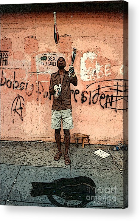 Male Portraits Acrylic Print featuring the photograph The Juggler by Walter Oliver Neal