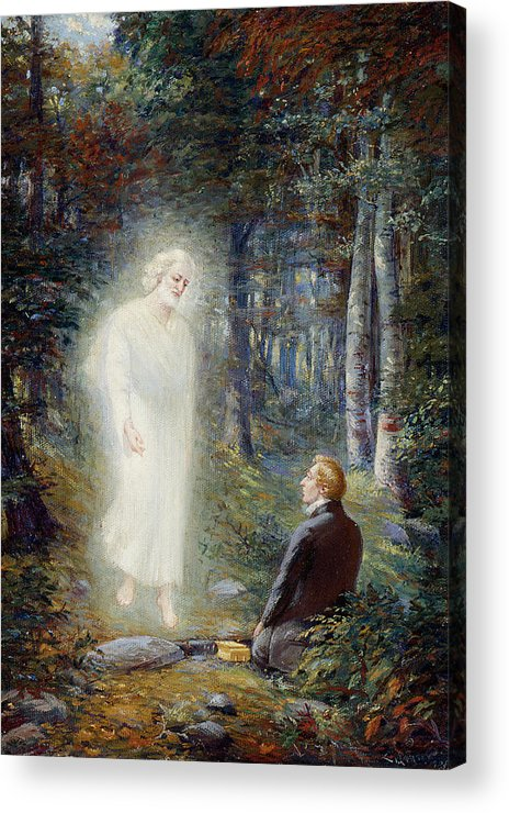 Angel Moroni Acrylic Print featuring the painting The Restoration by Lewis A Ramsey