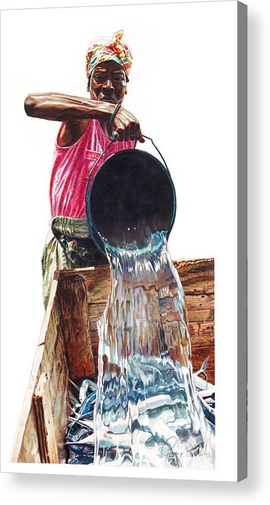 Fishes Acrylic Print featuring the painting Fresh Fish Today by Gregory Jules