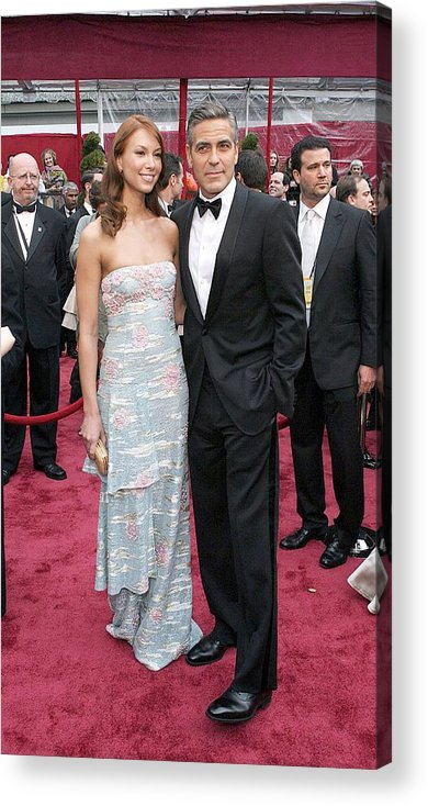 Academy Awards Acrylic Print featuring the photograph George Clooney, Sarah Larson Wearing by Everett