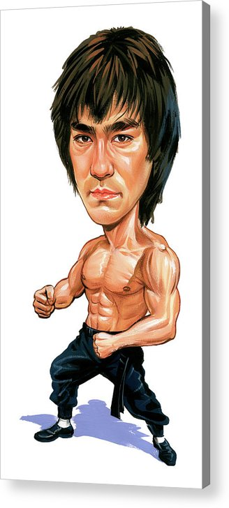 Bruce Lee Acrylic Print featuring the painting Bruce Lee by Art