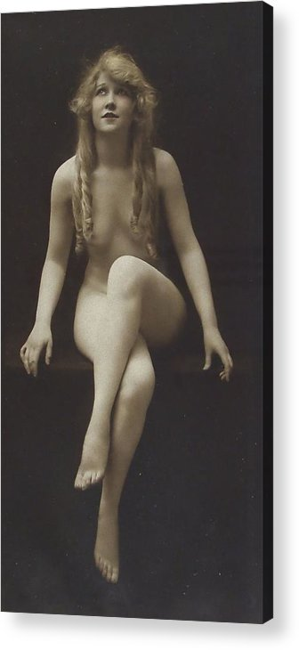 Girl Woman Female Nude Nakes Erotic Sexy Beauty Long Hair Sitting Vintage Sw Bw Black White Photograph Legs Breast Boobs Acrylic Print featuring the pyrography Nude Girl 1915 by Stefan Kuhn