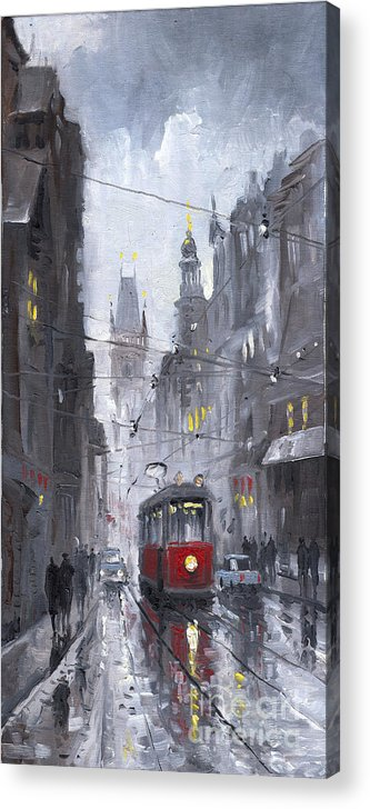 Oil On Canvas Acrylic Print featuring the painting Prague Old Tram 03 by Yuriy Shevchuk
