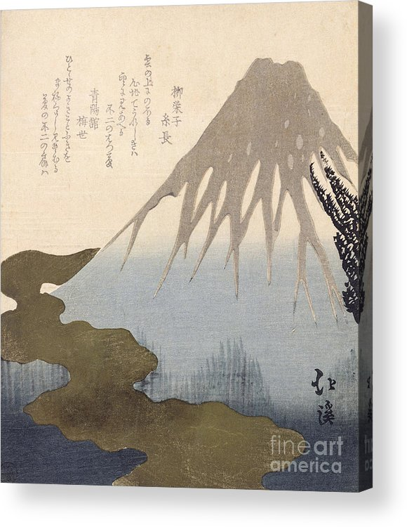Mountain Acrylic Print featuring the painting Mount Fuji Under The Snow by Toyota Hokkei