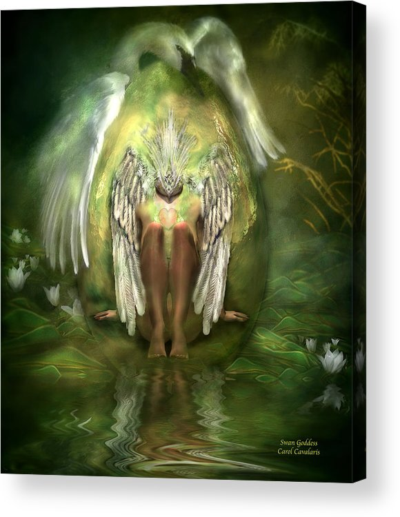 Goddess Acrylic Print featuring the mixed media Swan Goddess by Carol Cavalaris