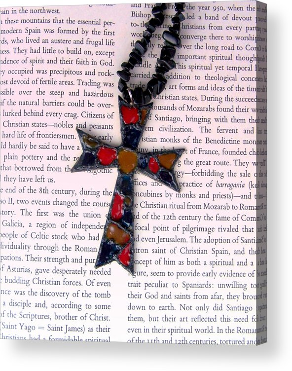 Bible Acrylic Print featuring the jewelry Christian Cross by Cynthia Amaral
