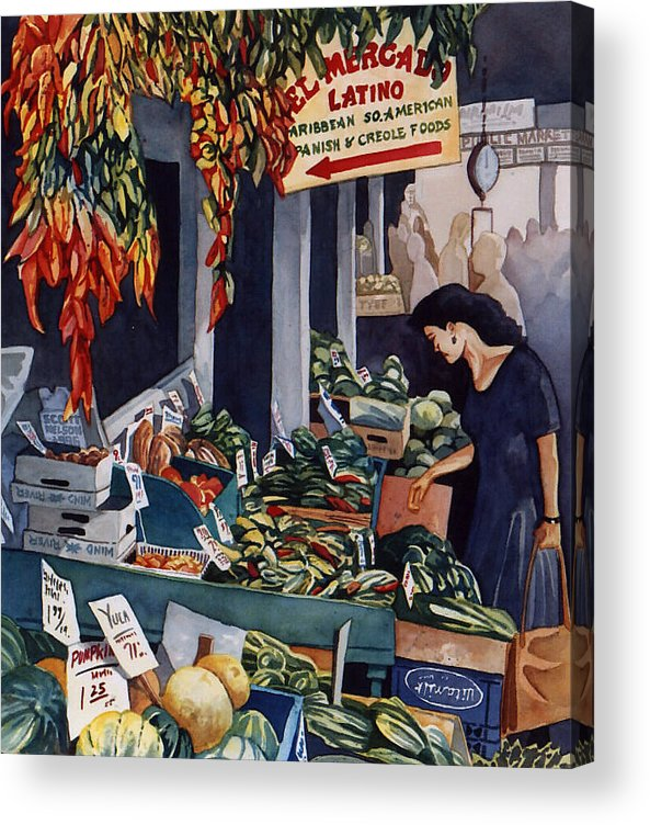 Seattle Acrylic Print featuring the painting Public Market With Chilies by Scott Nelson