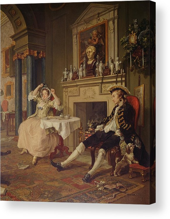Marriage Acrylic Print featuring the painting Marriage A La Mode II The Tete A Tete by William Hogarth