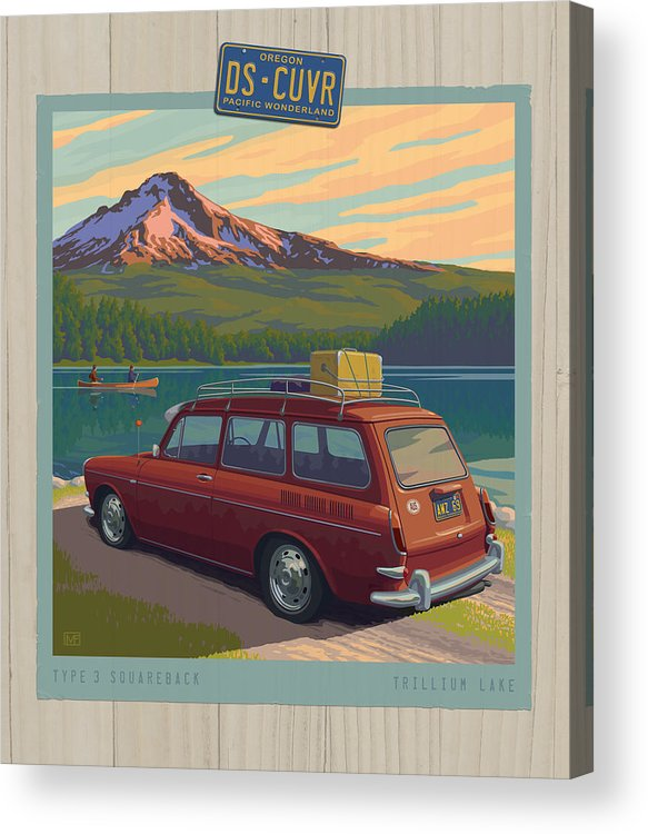 Mount Acrylic Print featuring the digital art Vintage Squareback At Trillium Lake by Mitch Frey