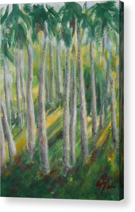 Landscape Acrylic Print featuring the painting Tropical by Jane See