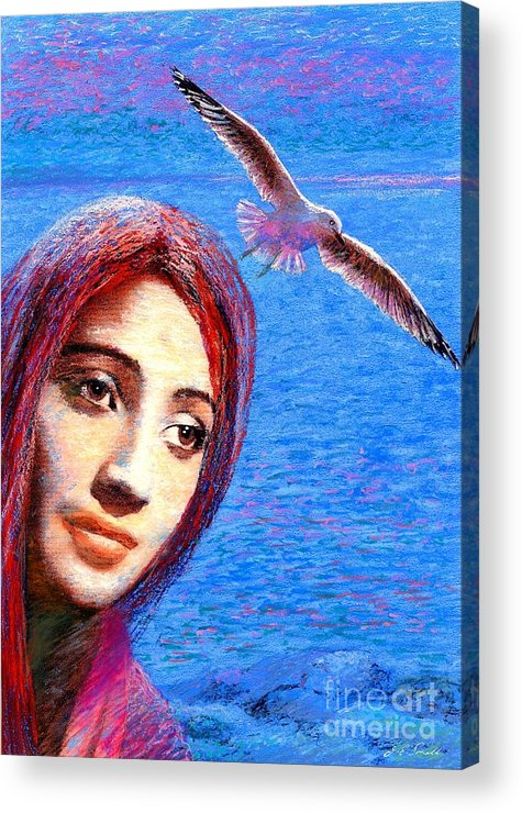 Mystical Acrylic Print featuring the painting Call Of The Deep by Jane Small