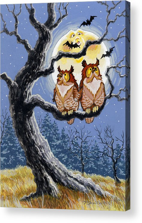 Halloween Acrylic Print featuring the painting Hooty Whos There by Richard De Wolfe
