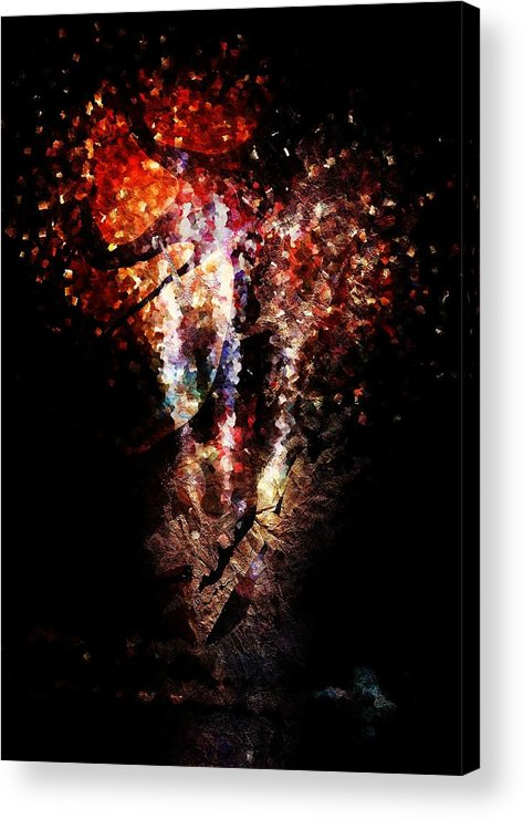 Painted Acrylic Print featuring the digital art Painted Fireworks by Andrea Barbieri