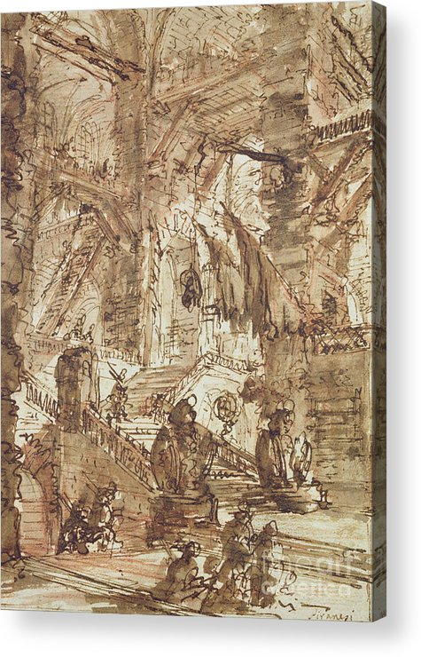 Prison; Gaol; Jail; Incarceration; Dungeon; Imaginary; Fantastic Acrylic Print featuring the drawing Preparatory Drawing For Plate Number Viii Of The Carceri Al'invenzione Series by Giovanni Battista Piranesi