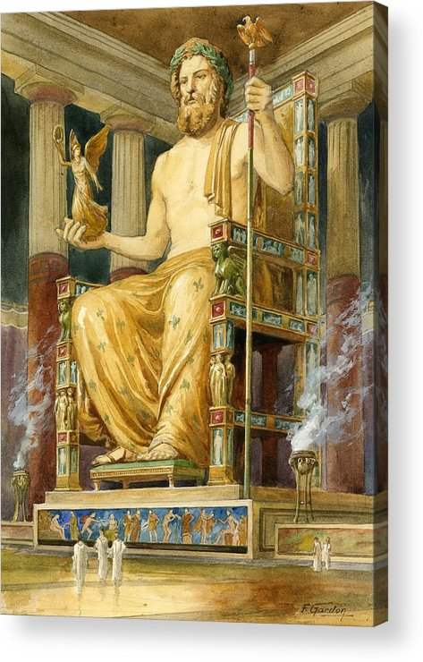 Seven Wonders Of The Ancient World Acrylic Print featuring the drawing Statue Of Zeus At Oympia by English School