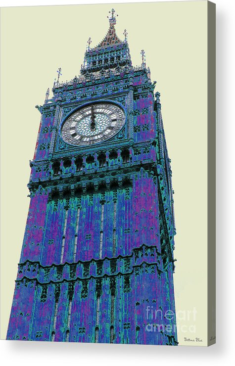 Big Ben Acrylic Print featuring the pyrography Big Blue Ben by Beth Saffer