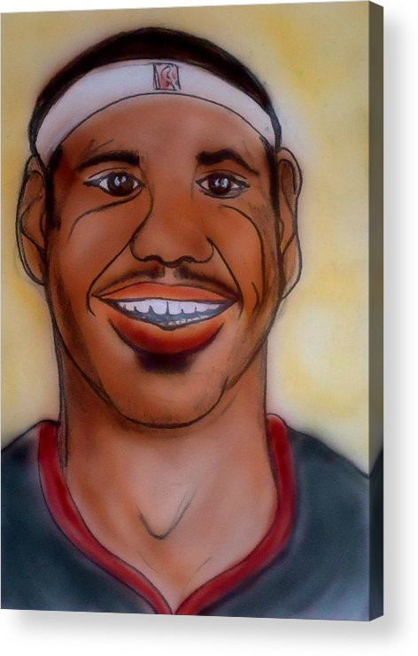 Lebron James Acrylic Print featuring the painting Lebron James by Pete Maier
