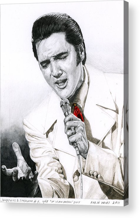 Elvis Acrylic Print featuring the drawing 1968 White If I Can Dream Suit by Rob De Vries