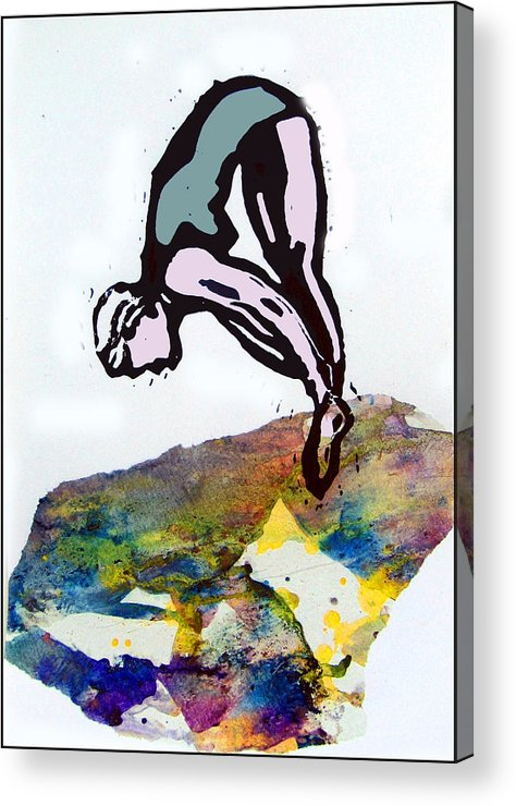 Lino Acrylic Print featuring the mixed media Dive - Evening Pool by Adam Kissel