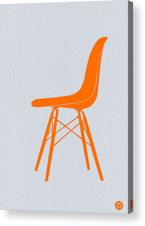 Eames Chair Acrylic Print featuring the drawing Eames Fiberglass Chair Orange by Naxart Studio