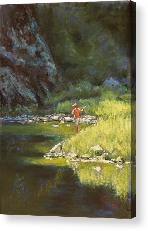 Fly Fisherman Acrylic Print featuring the painting Fly Fishing by Billie Colson