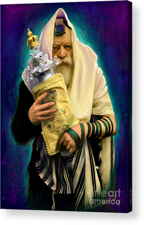 Lubavitcher Acrylic Print featuring the painting Lubavitcher Rebbe With Torah by Sam Shacked