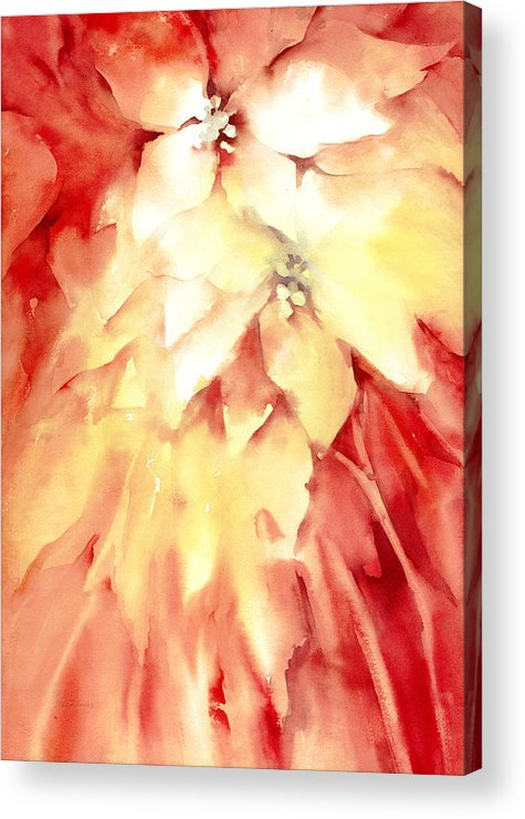 Poinsettias Acrylic Print featuring the painting Poinsettias by Joan Jones