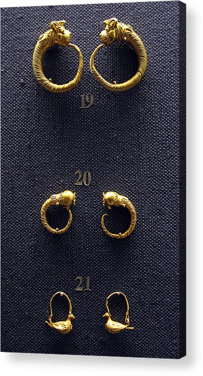 Ancient Earrings Acrylic Print featuring the photograph Earrings by Andonis Katanos