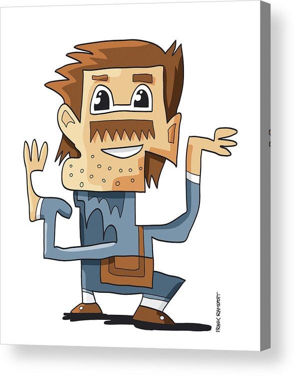 Frank Ramspott Acrylic Print featuring the digital art Smart Guy Doodle Character by Frank Ramspott