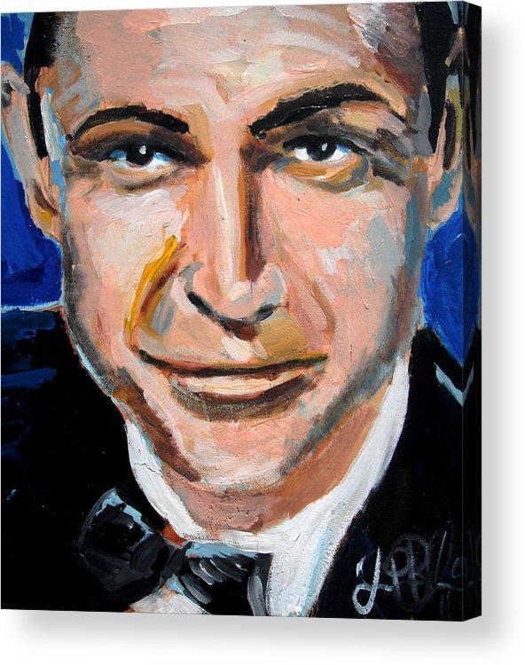 James Acrylic Print featuring the painting James Bond by Jon Baldwin Art
