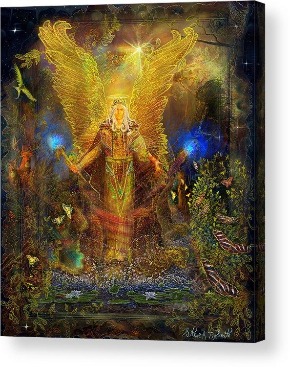 Angel Tarot Card Acrylic Print featuring the painting Archangel Michael-angel Tarot Card by Steve Roberts