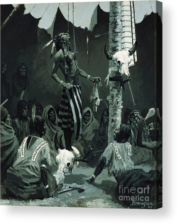 Mandan Initiation Ceremony (the Sundance) 1888 (oil On Board)the Okipa Ceremony In Which Young Mandan Warriors Were Suspended With Wooden Skewers Through The Skin Of Their Chests; Indian Acrylic Print featuring the painting The Sundance by Frederic Remington