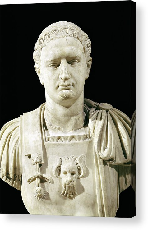Flavius Acrylic Print featuring the sculpture Bust Of Emperor Domitian by Anonymous