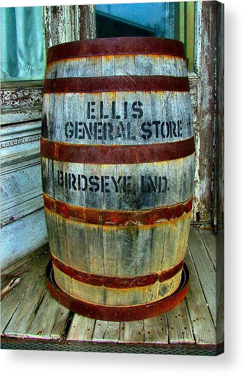 Old Barrels Acrylic Print featuring the photograph Cheap Advertisement by Julie Dant