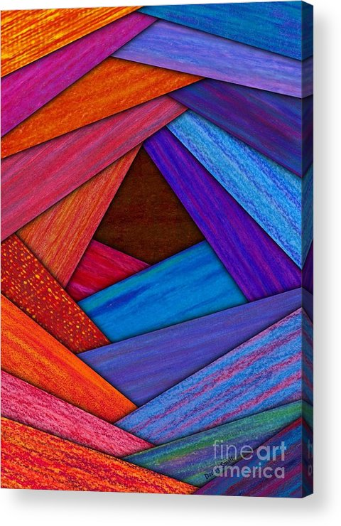 Colored Pencil Acrylic Print featuring the painting Crazy Log Cabin Card by David K Small