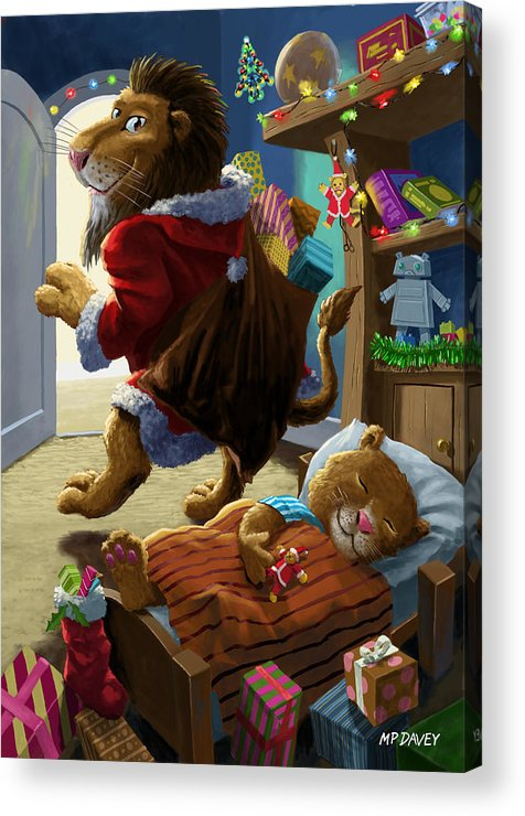 Christmas Acrylic Print featuring the digital art Father Christmas Lion Delivering Presents by Martin Davey