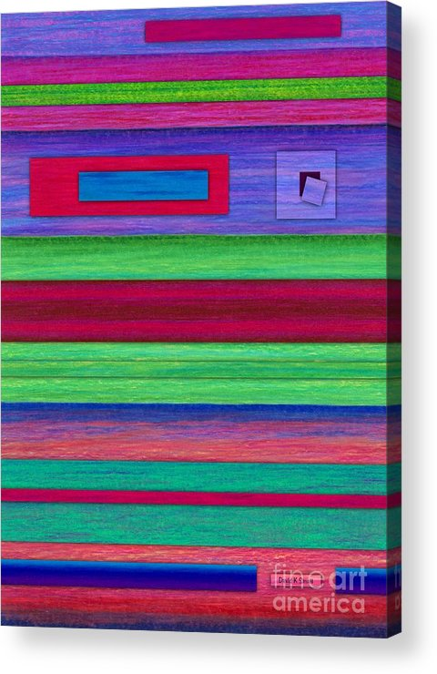 Colored Pencil Acrylic Print featuring the painting Merger by David K Small