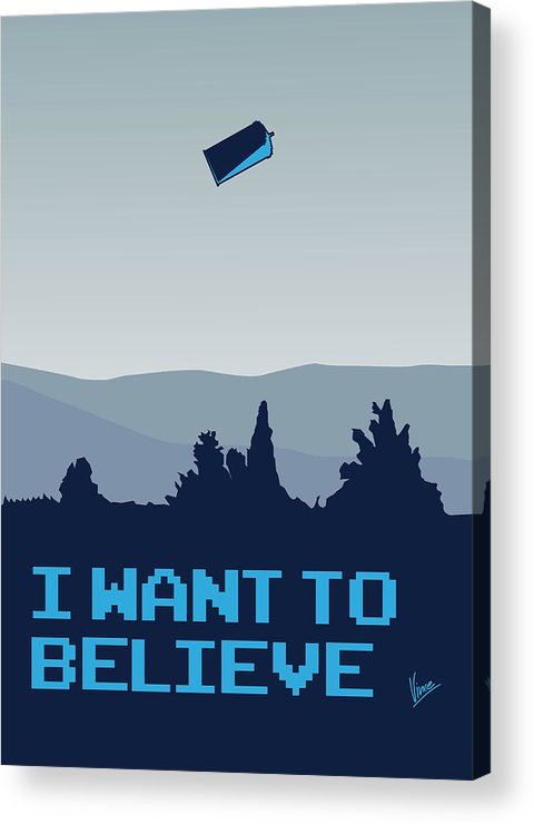 Classic Acrylic Print featuring the digital art My I Want To Believe Minimal Poster- Tardis by Chungkong Art