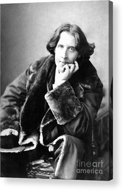 1900; Writer; Seated; Fur-trimmed Coat; Author; Oscar Wilde Acrylic Print featuring the photograph Oscar Wilde In His Favourite Coat 1882 by Napoleon Sarony
