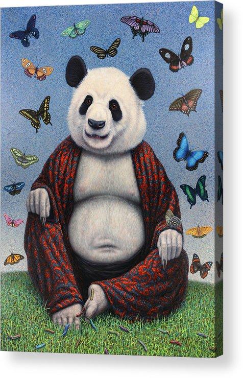 Panda Acrylic Print featuring the painting Panda Buddha by James W Johnson